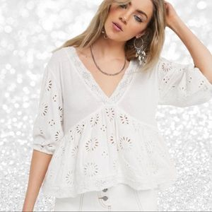 Free People Sweeter Side Eyelet Lace Up Back Top
